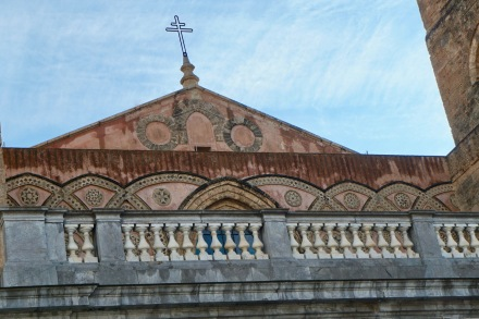 Close up of the exterior shows its Arabo-Normanno style